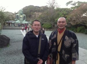 author with fellow Association member Rev. Jotetsu Nemoto at Kamakura Daibutsu (Nov. 7, 2012)