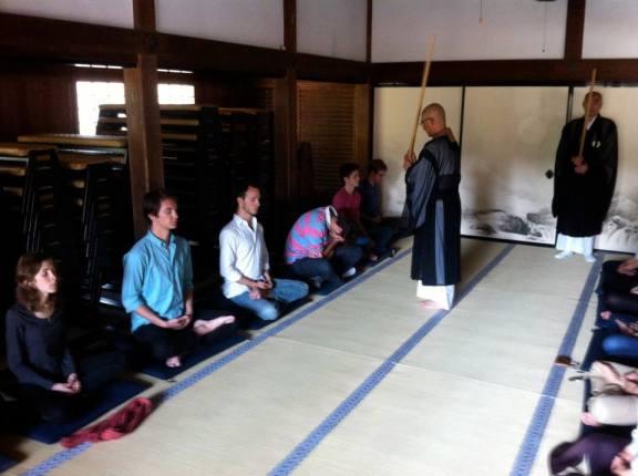 Rev. Fujio teaches zazen to university students at his parent temple Kencho-ji in Kamakura
