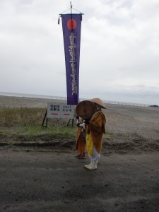Prayer on the beach near a Japanese self-defense force missile testing site on the way to Higashi-dori Nuclear Plant on May 3, 2013
