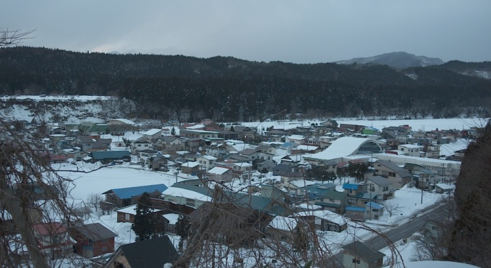 the rough winter landscape of Fujisato-cho