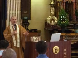 Rev. Jin during training session with Buddhist chaplains in Tokyo