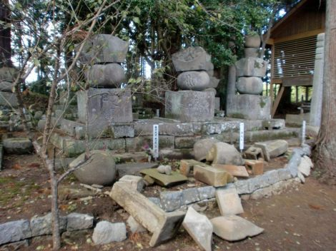 fallen stones of the Minami Soma clan graves after the 3/11 earthquake